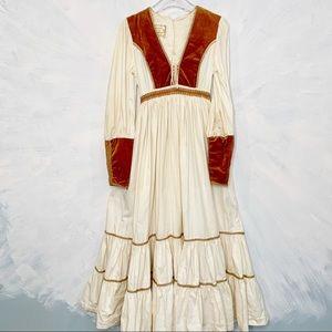 Gunne Sax Renaissance Prairie Velvet Boho Dress